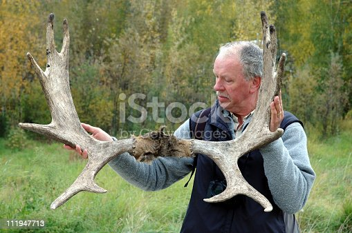 istock Senior man holding the antler of a moose 111947713