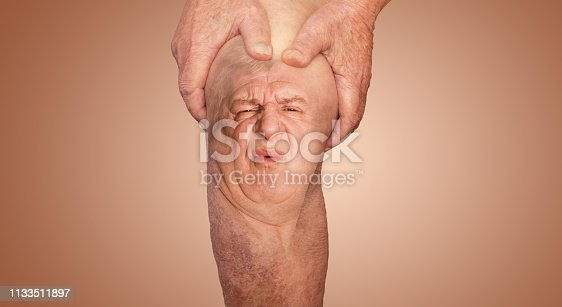 1133511905istockphoto Senior man holding the knee with pain. Collage. Concept of abstract pain and despair. 1133511897