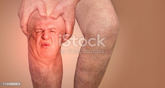 1133511905istockphoto Senior man holding the knee with pain. Collage. Concept of abstract pain and despair. 1144065924