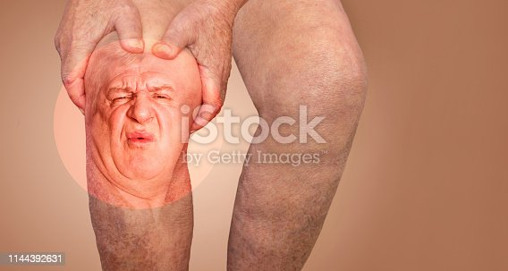 istock Senior man holding the knee with pain. Collage. Concept of abstract pain and despair. 1144392631