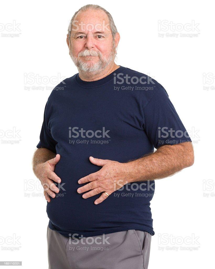 Senior Man Holds Stomach stock photo