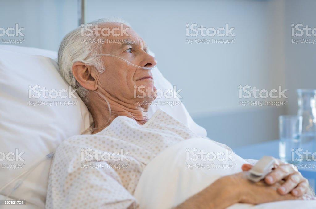 Senior man hospitalized stock photo
