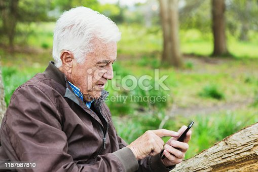 621898406 istock photo Senior man in forest sending text on mobile phone 1187587810