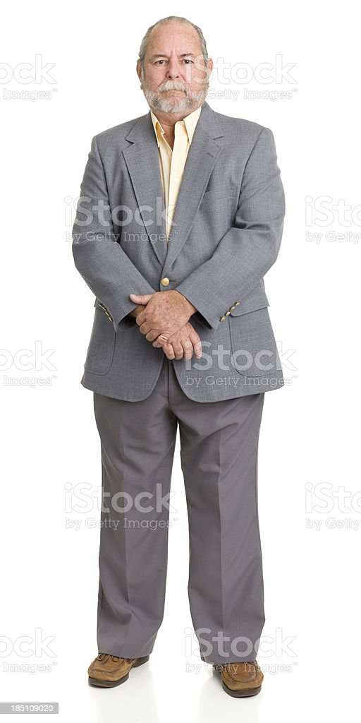 Senior Man In Gray Suit Posing royalty-free stock photo