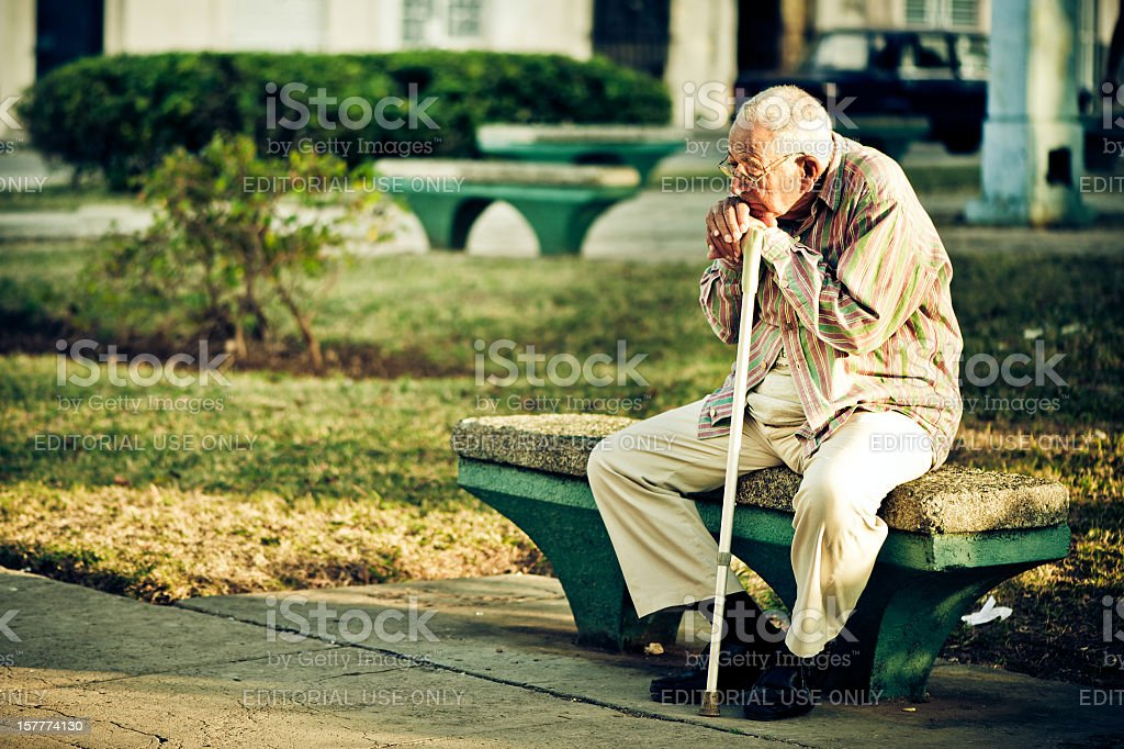 Senior man in Havana, Cuba stock photo
