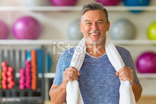 istock Senior man in health club 624855104
