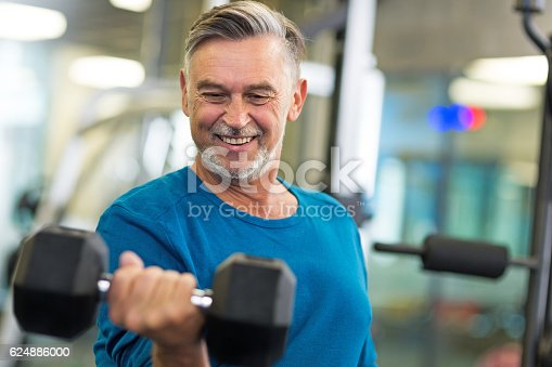 istock Senior man in health club 624886000