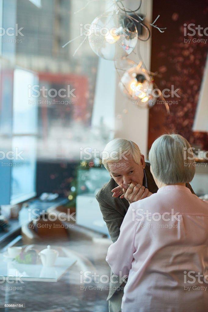 Senior man in love stock photo