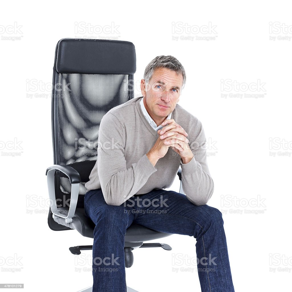Senior man in pensive mood royalty-free stock photo