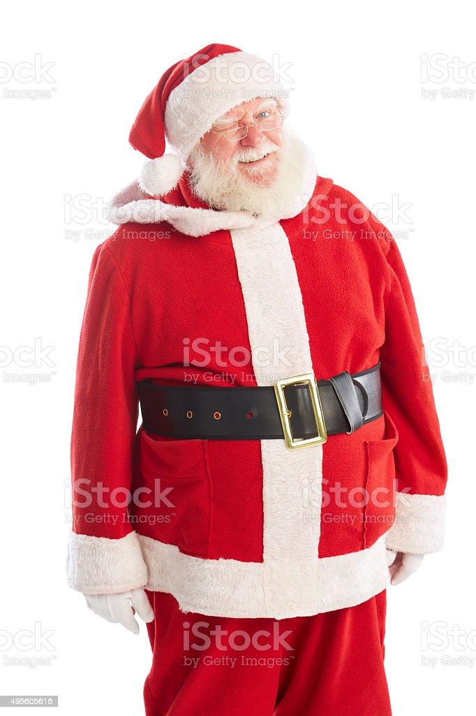 Senior man in santa claus costume winking stock photo