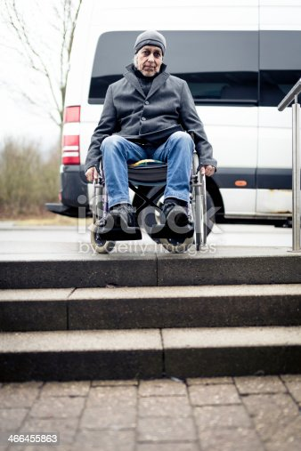 466456685 istock photo senior man in wheelchair can't go down stairs 466455863