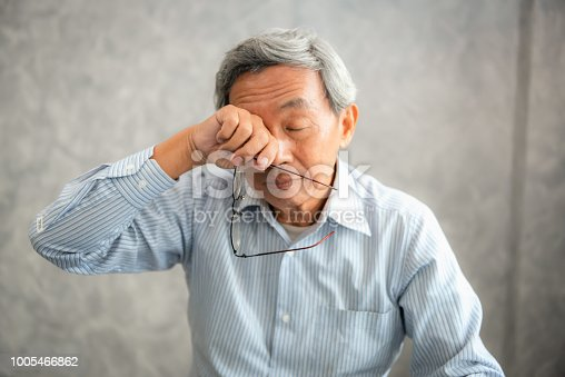 626964348istockphoto Senior man is holding eyeglasses and  rubbing his tired eyes while reading e-book in tablet 1005466862