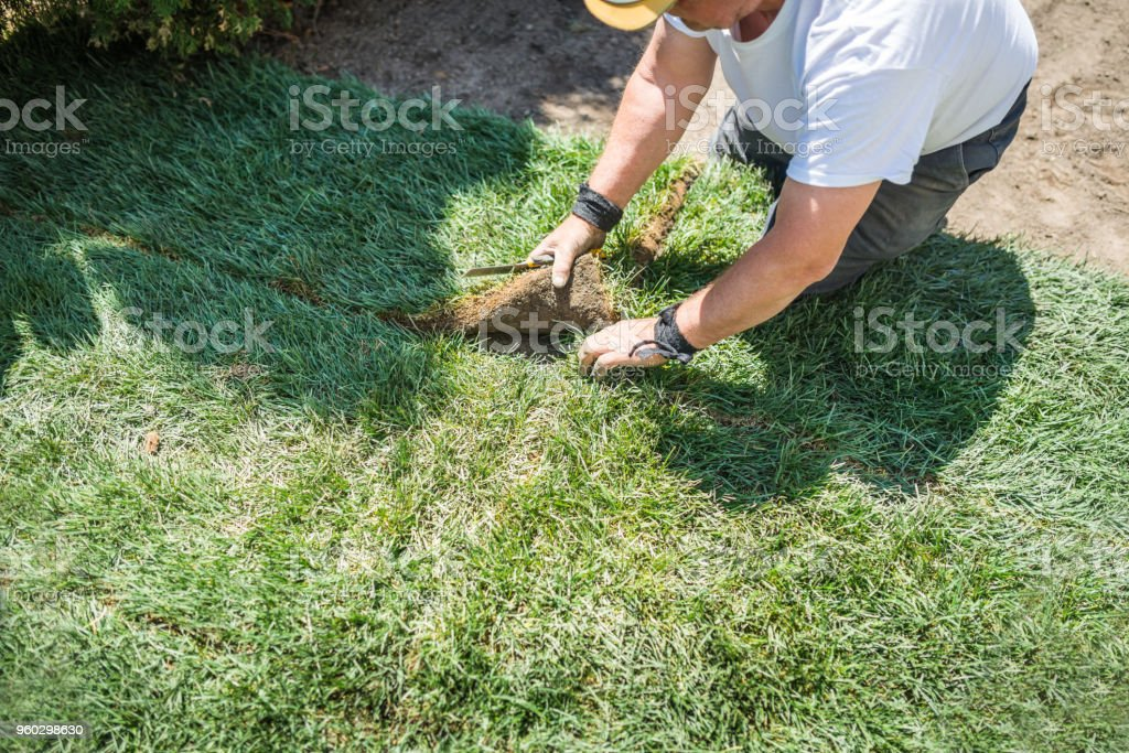 Senior woman Spatenstich für neuen Rasen verlegen – Foto