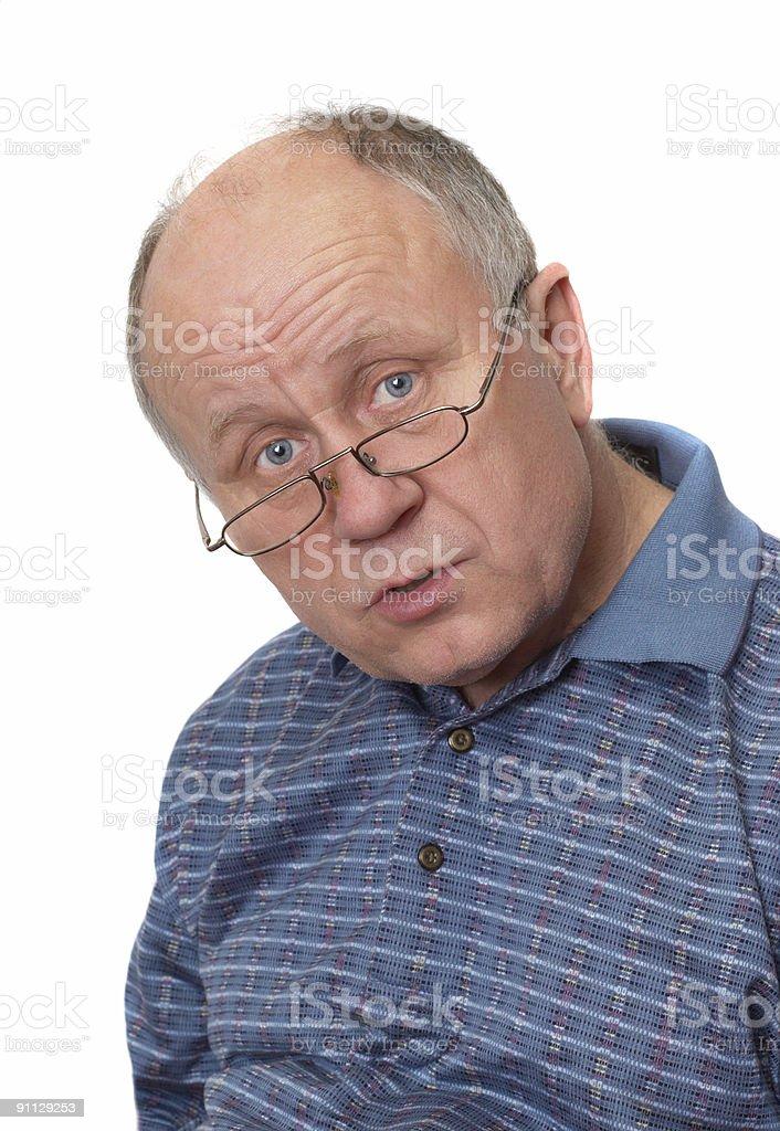 Senior man listening royalty-free stock photo