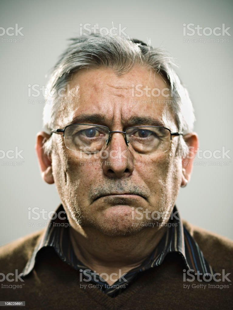 Senior Man Making Serious Face royalty-free stock photo