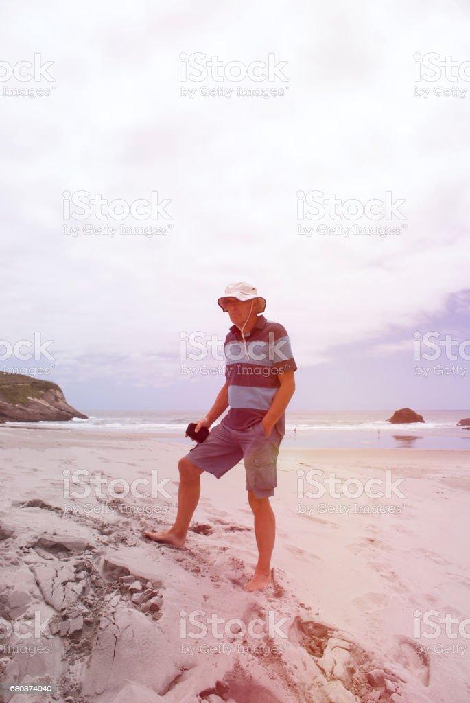 Senior Man on Beach royalty-free stock photo