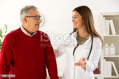 istock Senior man on consultation with doctor, close up 638124654