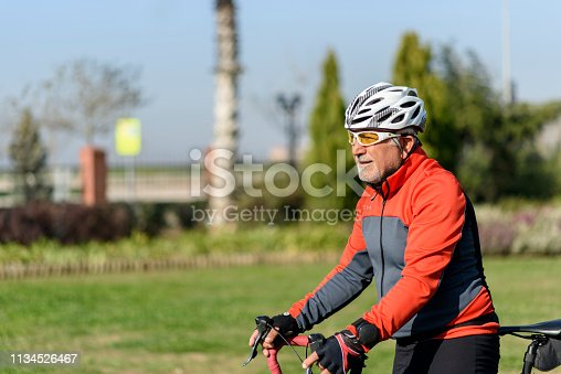 1029243348 istock photo Senior man on his bike 1134526467
