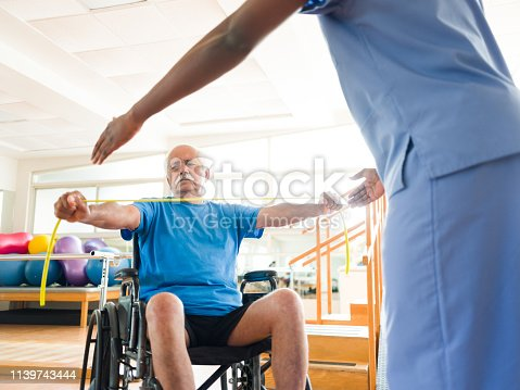 istock Senior man on wheelchair stretching elastic band with hands 1139743444