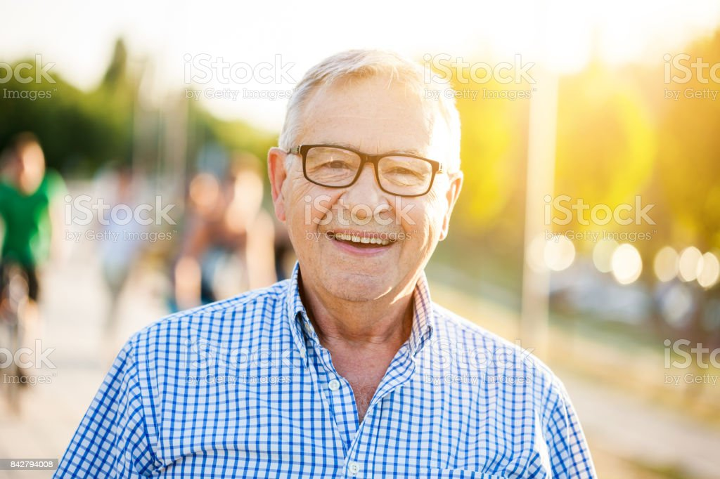 Senior man outdoor stock photo
