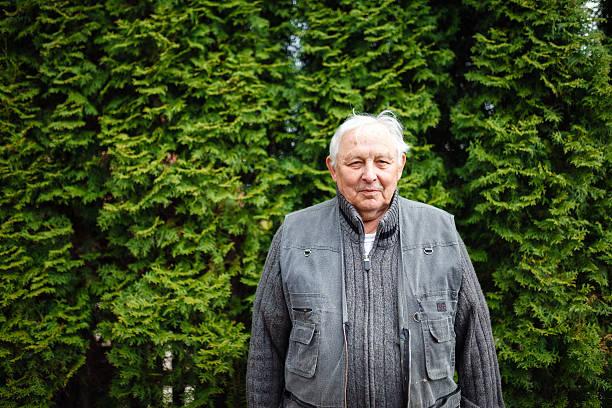 Senior man outdoor portrait stock photo