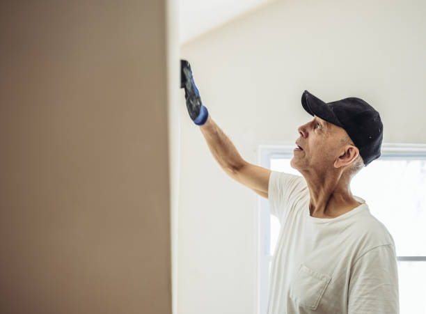 senior man painting apartment interior - concentration stock photos and pictures