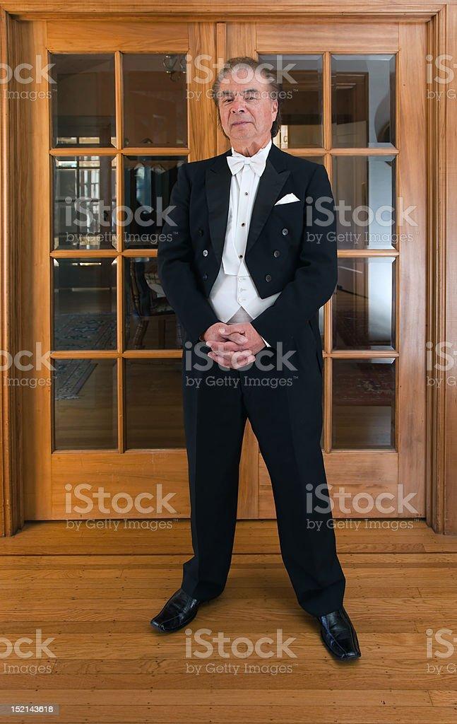 Senior man pianist and folk singer stock photo