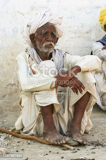Sar, India - May 30, 2007: Rural village senior posing under sun light, old man known for choudhary community, choudhary is a bigest community in Rajasthan n Gujrat state, this community is live under Rajaram indoctrination, Rajaram is most popular Sant in sikarpura village