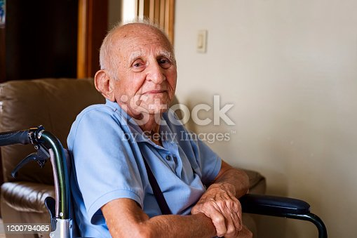 Elderly eighty plus year old man in a home setting.