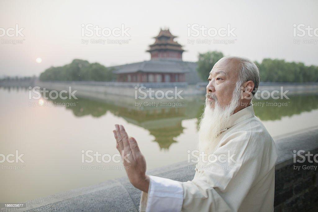 Senior Man Practicing Tai Ji royalty-free stock photo