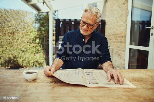 116379055 istock photo Senior man relaxing outside with a coffee and newspaper 974225540