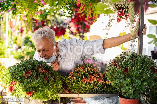 istock Senior man sells flowers on the market stall. He is wearing pulled down protective face mask 1303925279