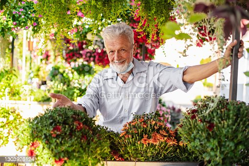 istock Senior man sells flowers on the market stall. He is wearing pulled down protective face mask 1303926124