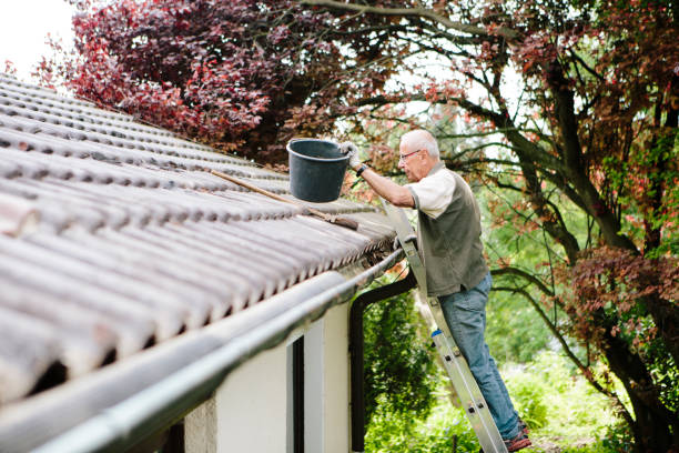 senior man stands on ladder and cleans a roof gutter stock photo