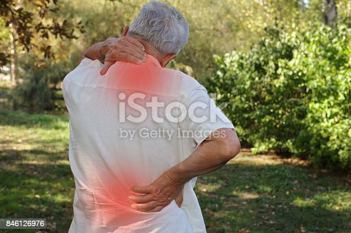 istock Senior man suffering fron back pain. Pain relief and health care concept. 846126976