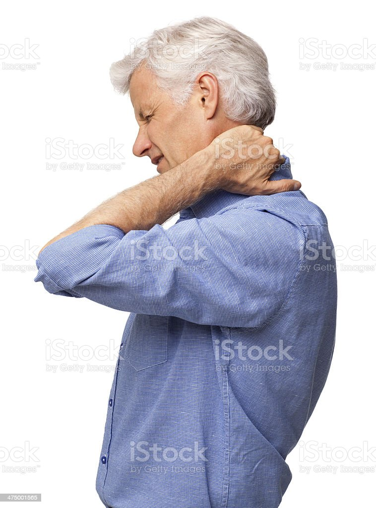 Senior Man Suffering With Severe Neck Pain - Isolated royalty-free stock photo