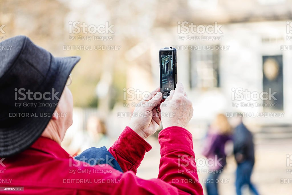 Senior Man Taking Self Portrait stock photo