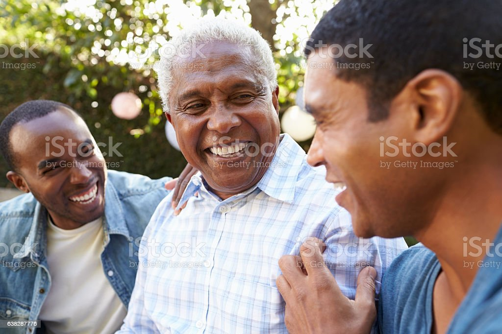 Senior man talking with his adult sons in garden, foto de stock libre de derechos