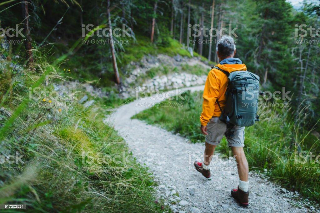 Senior woman Trail Wandern in einem Bergwald – Foto