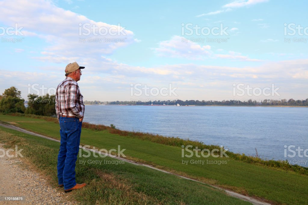 Senior Man Viewing Mississippi River stock photo