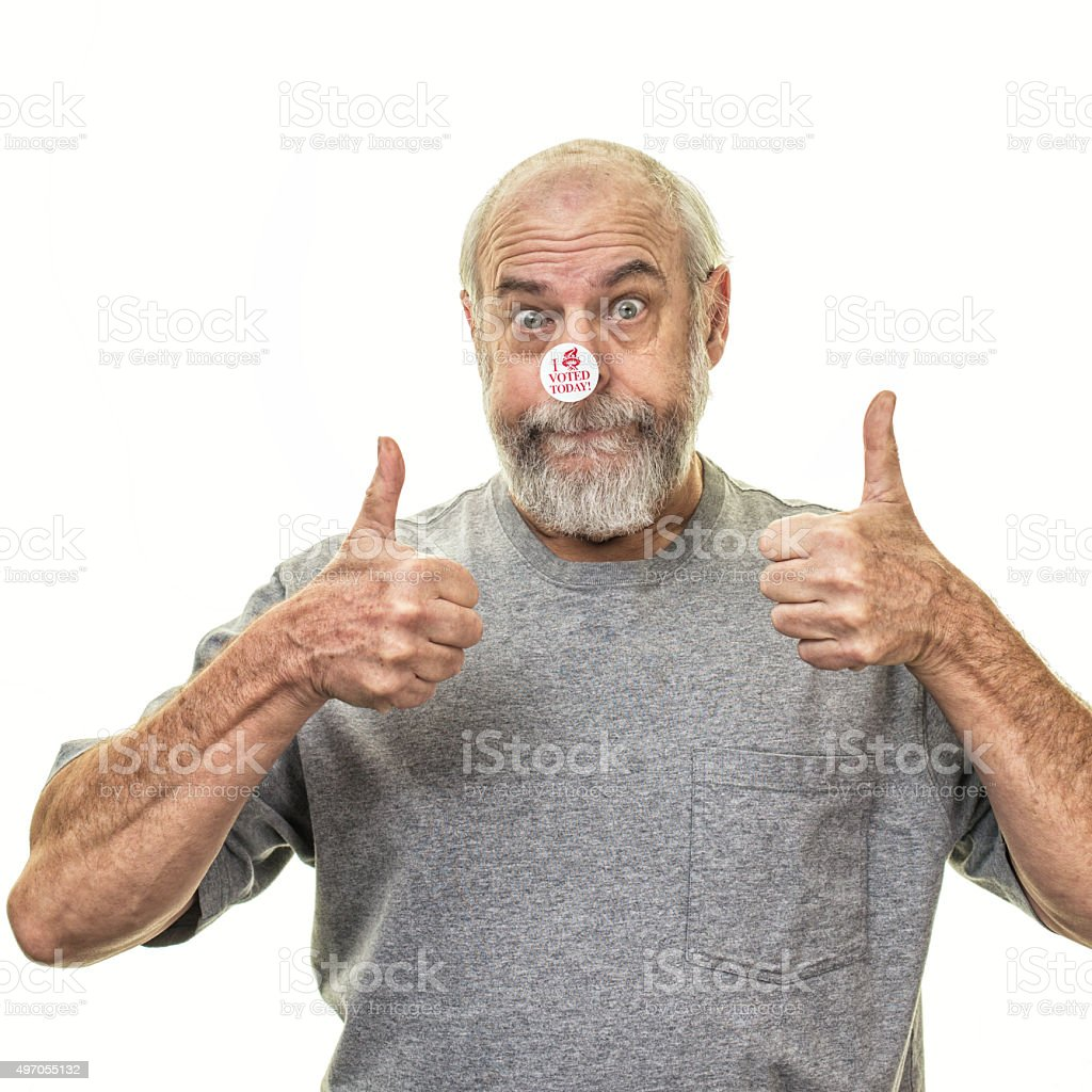 Senior Man Voter Two Thumbs Up Victory Hand Gesture stock photo