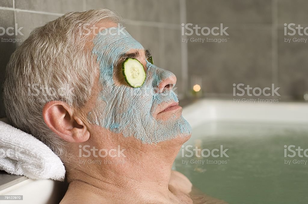 Senior man wearing a face mask 免版稅 stock photo