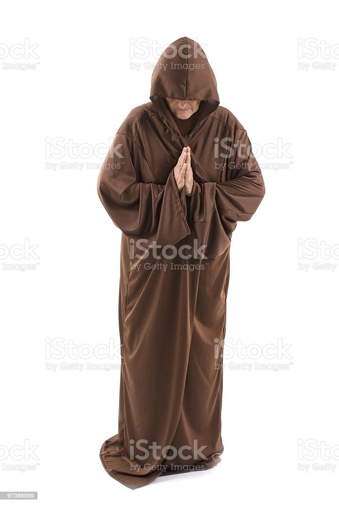 Senior man wearing monk style gown stock photo