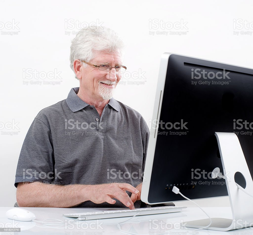 senior man with  computer royalty-free stock photo