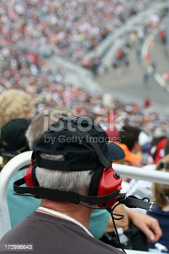 173015172 istock photo Senior Man With Earmuffs at Racing Event 172998643