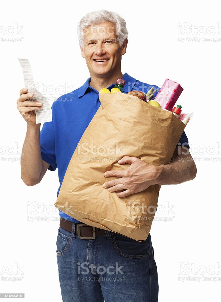 Senior Man With Grocery Bag And Receipt - Isolated royalty-free stock photo