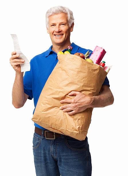 alter mann mit lebensmittelgeschäft tasche und empfang-isoliert - gefüllte bon bons stock-fotos und bilder