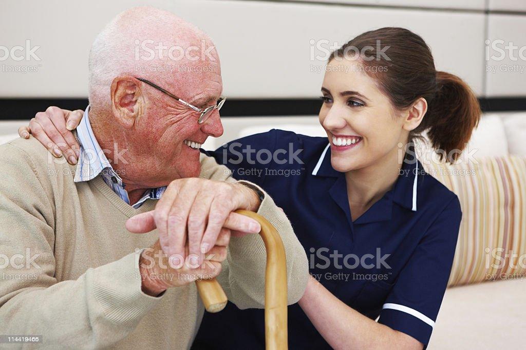Senior Man with His Nurse royalty-free stock photo