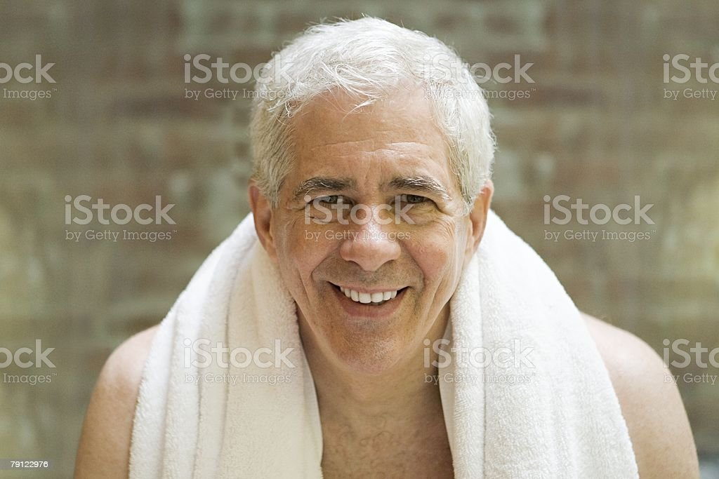 Senior man with towel around shoulders royalty-free 스톡 사진