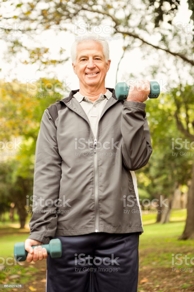 Senior man working out in park royalty-free stock photo